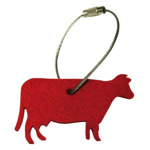 Schlüsselanhänger Filz, Kuh, Rot