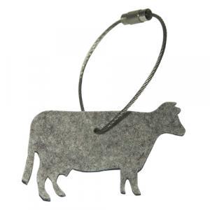 Schlüsselanhänger Kuh Filz, hellgrau