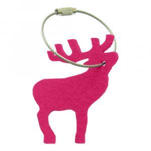 Schlüsselanhänger Filz, Hirsch, Pink