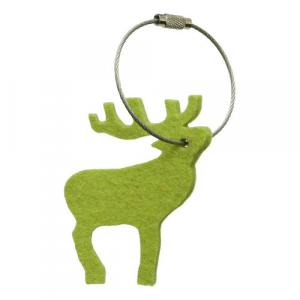 Schlüsselanhänger Hirsch Filz, gelbgrün