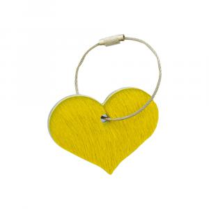 Schlüsselanhänger Herz Kuhfell gelb / Wollfilz hellgrau