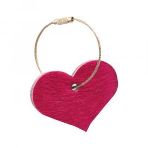 Schlüsselanhänger Herz Kuhfell pink / Wollfilz hellgrau