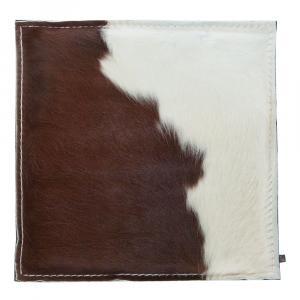 Kuhfell Kissen, Braun-Weiß/Braun, 40 x 40 cm