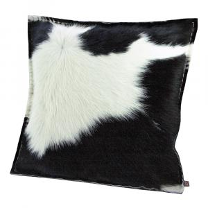 Kuhfell-Kissen incl. Daunen-Füllkissen schwarz, 40x40 cm