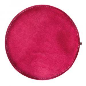 Sitzkissen rund Kuhfell pink / Wollfilz hellgrau
