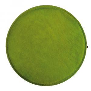 Sitzkissen Kuhfell rund grün / Wollfilz hellgrau