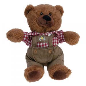 Teddybär Lederhose, Braun/Rot/Weiß