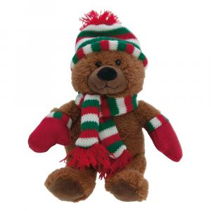 Teddybär Mütze, Braun/Rot/Grün