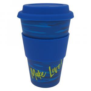 Coffee-to-Go-Becher Bambus, Runny Blue, 400 ml