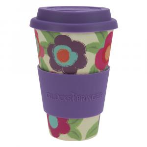 Coffee-to-Go-Becher Bambus, Happy Flower, 400 ml