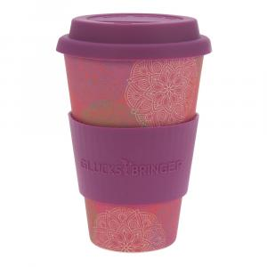 Coffee-to-Go-Becher Bambus, Mandala Spirit pink, 400 ml