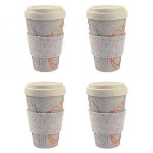 Coffee-to-Go-Becher Bambus 4er Set, Kringel/Blüten, 450 ml