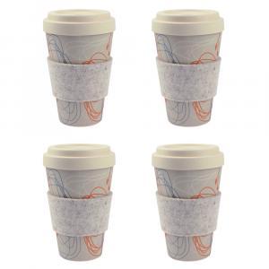 Coffee-to-Go-Becher Bambus 4er Set, Kringel/Blüten, 450 ml