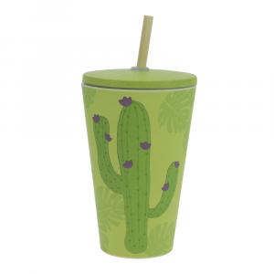 Smoothie-to-Go-Becher Bambus, Kaktus, 400 ml