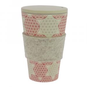 Coffee-to-Go-Becher Bambus, Blume des Lebens 2, 450 ml