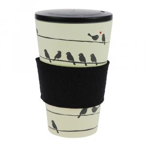 Coffee-to-Go-Becher Bambus, Loving Birds, 400 ml
