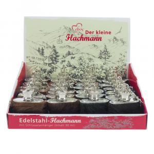 Box Edelstahl Mini-Flachmann, Kuhfell, 1 oz