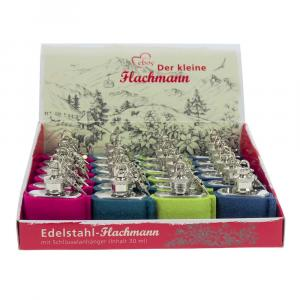Box Edelstahl Mini-Flachmann, Wollfilz, Bunt, 1 oz