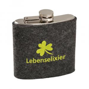 Edelstahl Flachmann Lebenselixier, Grau/Grün, 6 oz
