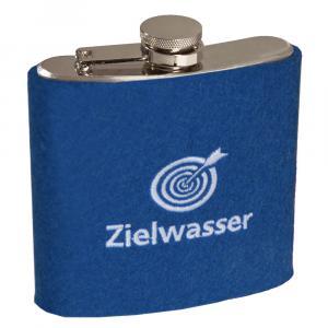 Edelstahl Flachmann Zielwasser, Blau/Weiß, 6 oz