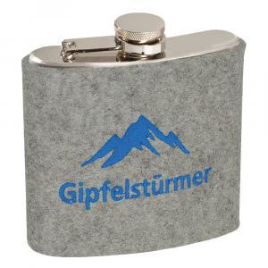 Edelstahl Flachmann Gipfelstürmer, Hellgrau/Blau, 6 oz