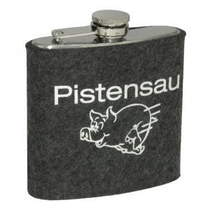 Edelstahl Flachmann Pistensau, Grau/Weiß, 6 oz