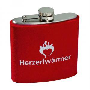 Flachmann rot/weiß Herzerlwärmer