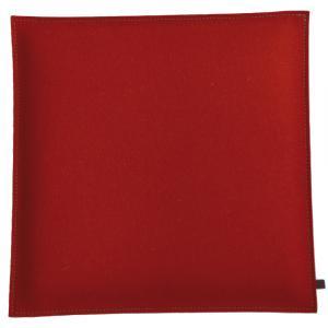Filz Kissen Quadratisch, Rot/Hellgrau, 40 x 40 cm