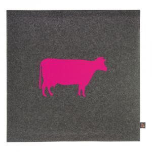 Filz Kissen Kuh, Grau/Pink, 40 x 40 cm