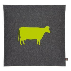 Sitzkissen Kuh Woll-Filz grau/gelbgrün