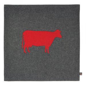 Filz Kissen Kuh, Grau/Rot, 40 x 40 cm