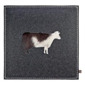 Sitzkissen Kuh Woll-Filz grau/Kuhfell