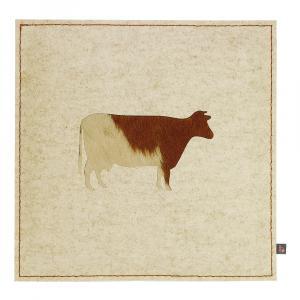 Sitzkissen Kuh Woll-Filz beige/Kuhfell braun