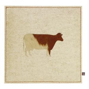 Filz Kissen Kuh, Beige/Kuhfell Braun, 40 x 40 cm