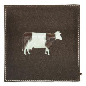 Sitzkissen Kuh Woll-Filz mbraun/Kuhfell