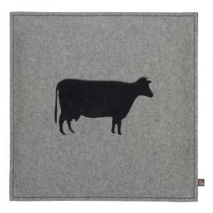 Filz Kissen Kuh, Hellgrau/Kuhfell Schwarz, 40 x 40 cm