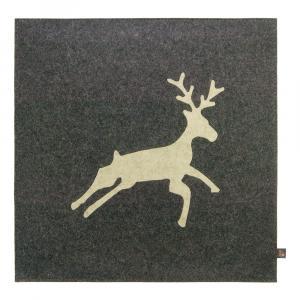 Filz Kissen Hirsch, Grau/Beige, 40 x 40 cm