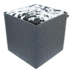 Sitzwürfel Woll-Filz grau/Kuhfell schwarz-weiß