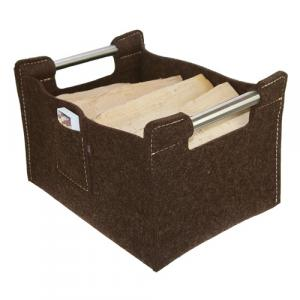 Holzkorb, Zeitungskorb aus 100% Wollfilz, mahagonibraun Large