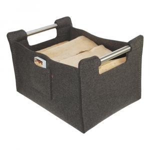 Holzkorb, Zeitungskorb aus 100% Wollfilz, grau Large