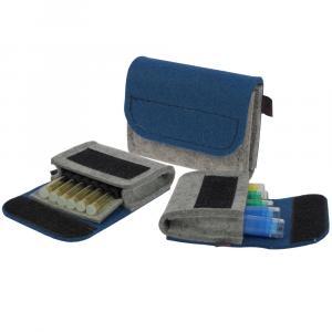 Taschenapotheke Globuli, Filz, 6 Schlaufen, Hellgrau/Jeansblau
