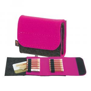 Taschenapotheke Globuli, Filz, 12 Schlaufen, Grau/Pink
