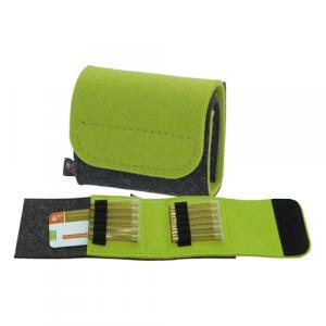 Taschenapotheke Globuli, Filz, 12 Schlaufen, Grau/Gelbgrün