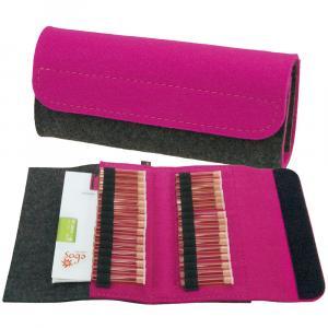 Taschenapotheke Globuli, Filz, 32 Schlaufen, Grau/Pink