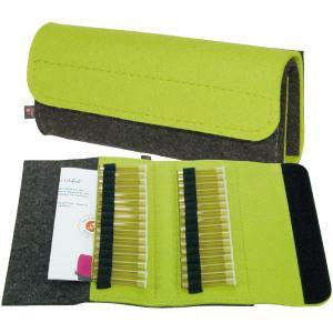 Taschenapotheke Globuli, Filz, 32 Schlaufen, Grau/Gelbgrün