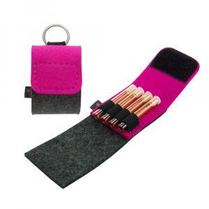 Taschenapotheke Globuli, Filz, 4 Schlaufen, Grau/Pink