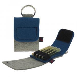 Taschenapotheke Globuli, Filz, 4 Schlaufen, Hellgrau/Jeansblau
