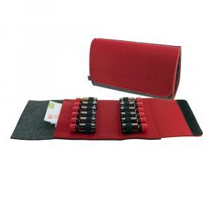 Taschenapotheke Fläschchen, Filz, 12 Schlaufen, Grau/Rot
