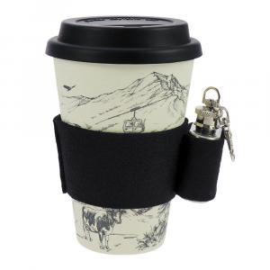 Coffee-to-Go-Becher Bambus, Alpenglück, mit Mini Flachmann, 400 ml
