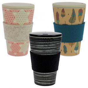 Coffee-to-Go-Becher Bambus 3er Set, O.L.E., Zauberfeder, Blume des Lebens, 400 ml